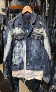 Mens fashion boutique jackets Mens Designer letter trend washed denim jacket student couple with the same paragraph C16