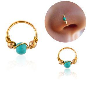 Bohemia Turquesa Beads Nose Piercing Cartilagem Cirúrgico Aço Septum Clickers Nose Anel Piercing Nariz Body Jóias