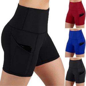 Yoga roupas femininas curtas calças bolsos Tummy Control Workout executando Athletic High Cintura Calças Skinny Mulheres Sportswear