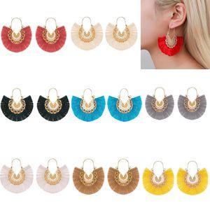 Bohemia Ethnic Style Fan Shape Tassel Pendant Earrings Dangle Hollow Alloy Fringe Eardrop Charm Ear Hook Women Earring Jewelry Gifts