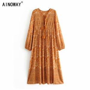 Vintage chic women floral print long sleeve tassel ruffles beach Bohemian midi dresses Ladies loose v-neck rayon Boho dress