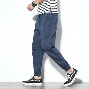 Frühling Mens Cargo Pants Cotton Bequeme feste Bleistift-Hosen mit Kordelzug Black Navy Khaki Gelegenheits Joggers Men Pants BINHIIRO 2019 CX200728