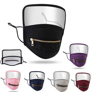 Zipper Face Mask with Shield 2 in 1 Washable Reusable Anti Dust Masks Protective Face Mask Shield New Designer HHA1484