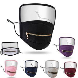 Zipper маска для лица с защитой 2 в 1 моющийся многоразовый против пыли Маски Защитная маска щит Новый конструктор HHA1484