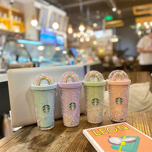 450мл Cute Радуги Старбакс Кубок Двойной пластиковый с соломкой ПЭТ Материал для детей взрослых Girlfirend для сувенирной продукции