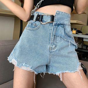 Vintage Wide Leg Pants Denim Design With Ragged High Waist And Wide Leg Denim Shorts Jeans Woman 2020 Fashion New