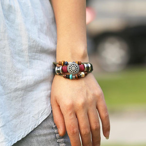 Adjustable multi layered beads bracelets Hollow flower leather bracelet women mens fashiono jewelry will and sandy gift