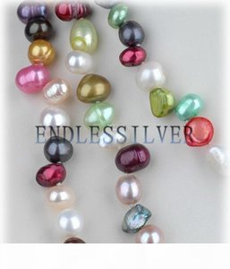 Xmas Day Jewelry Mixed Colors Freshwater Pearl Necklace Beaded Long 60 Inch Colorful for Pearl Party