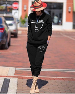 Loose Woman 2PCS Suits Casual Two Pieces Sets Printed Womens Tracksuits Spring Autumn Long Sleeve O-neck