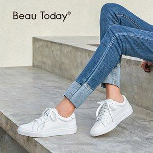 BeauToday Beyaz Ayakkabı Kadınlar Sneakers Yuvarlak Burun Dantel-up Hakiki İnek Deri Lady Flats Derby Ayakkabı El yapımı 29008 CX200722