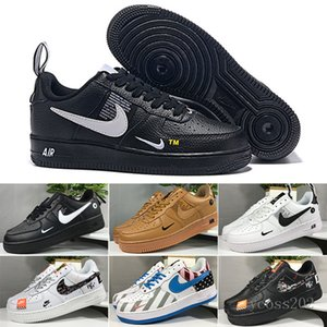 New WHITE x 1 Low Forces MCA University Blue Mens Running Shoes Sports fashion Designers Sneakers air one des chaussures off shoes JU2KZ