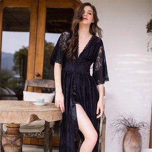 Munllure халата кружева женщин двухслойной сексуальных пижам принцессы стиль элегантной талия ночной рубашка может быть изношенной