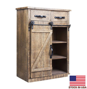 European Retro Wooden Cabinet Classic American Country Style Single Barn Door With 2 Drawers Vintage Wooden Cabinets Practical Storage Cabin