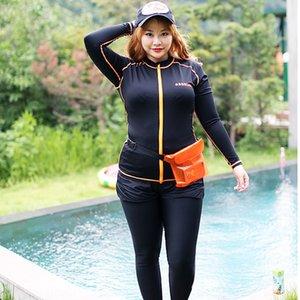 G1Mzz Kore Açık spor takım elbise dalış suitstyle büyük boy uzun kollu, dört parçalı set zayıflama güneş geçirmez denizanası giyim outdoor bölmek