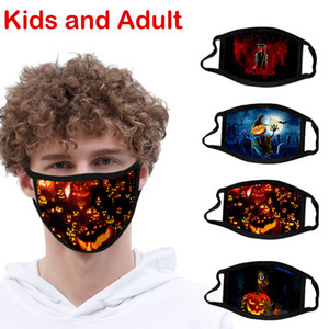 Enfants Halloween en coton imprimé masque anti-poussière lavable citrouille Araignée Festive Party Masques Mode Outdoor Masques de visage pour adultes et enfants