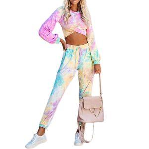 Tie Dye Kadın Moda Eşofman 2 Adet Set Kadınlar Uzun Kollu Tişört Üst + Renkli Pantolon İki Adet Kıyafet Streetwear yazdır