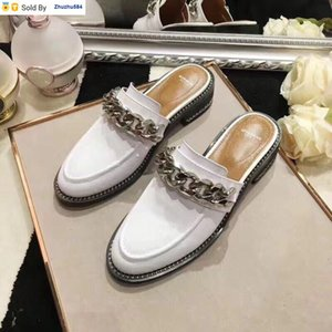 L1L0 406408 chain accessory vamp, lazy slippers white Casual Handmade Walking Tennis Sandals Slippers Mules Slides Thongs