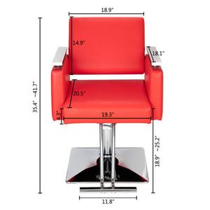 WACO Salon Barber Stuhl, Quadratisch Basis Leder Hydraulic Friseursalon Pub Salon Beauty Spa Styling Shampoo Haircut Stühle Red