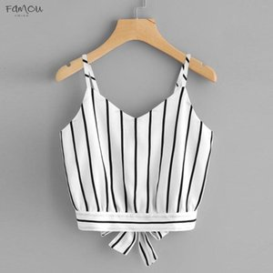 Crop Top V Neck Striped Solid Summer Tops For Women 2020 Cotton Blended Blouse Tank Tops Camisole Cropped Feminino Womens Clothing