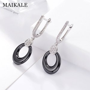 MAIKALE Classic Round Drop Earrings Small Cubic Zirconia Plated Gold Silver Color Korean Earrings For Women Send Friend Gift
