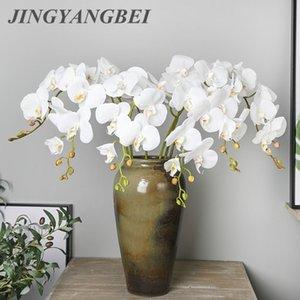 108cm 9 Cabeza de látex boda de la flor de la mariposa artificial de la orquídea Flores Flores Flores falso piso de la decoración del hogar