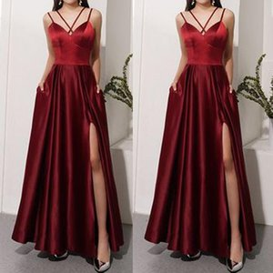 Sexy Side Split A-Line Prom Dresses Spaghetti Satin Arbic Evening Dress Formal Party Gowns robes de soiree