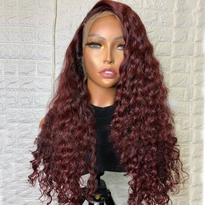 Loose Deep 99J Dark Wine Full Lace Human Hair Wigs Transparent 13x6 Deep Side Part Brazilian Remy 360 Lace Frontal Wigs