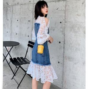 20200722 Denim lace stitching heavy work hollowed out off shoulder irregular skirt