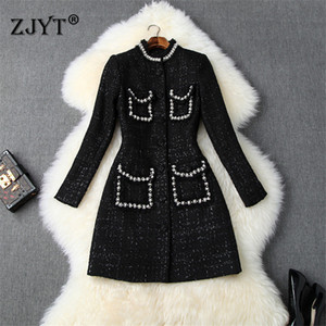 Runway Designers Winter Jacket Women 2020 New Fashion Long Sleeve Beading Tweed Woolen Jackets and Coats Wool Blend Outerwear