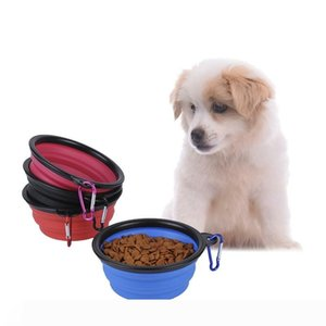 New Silicone Portable Folding Puppy Bowl Expanding Dog Cup Climbing Buckle Portable Type Pet Bowl Outdoor Pet Dog Supplies YFA04