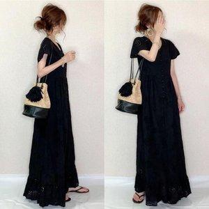 Vintacy 일본 스타일 블랙 투명 드레스 섹시한 여성 거리 단순 절단 버튼 반소매 V 넥 드레스 매일 드레스를 착용