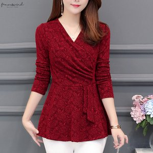 Casual Slim Fit 2020 New Plushed Thickened Bottom Women Top Long Sleeve Blusa V Neck Purple Red Flowers Blouses Shirt 201J3