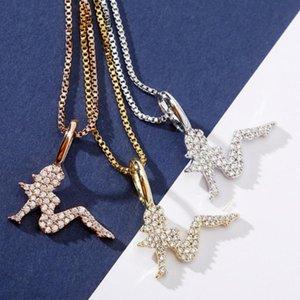 925 Sterlingsilber 14K Gold Bling Zirkonia Frauen sitzen Schönheit Charakter-Anhänger-Halskette voller Diamant edlen Schmuck Geschenk für Damen
