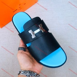 xshfbcl 2020 new fashion H slipper progettista men's shoes leather sandals men's indoor or outdoor slippers Multi color crocodile leather pa