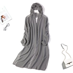 Women's 100% Silk Multi Colors Long Thin Coat hoodie Top Cardigan Blouse Summer Beach Cover Up one size JN169 Y200622