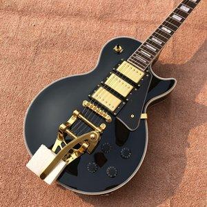 nuova chitarra elettrica handmade di alta qualità all'ingrosso nera 3 pick-up superiore della chitarra elettrica del LP della chitarra su ordinazione libera il trasporto
