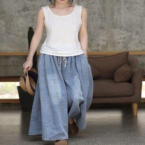 19 Summer New Cotton Jeans Lace-up Wide Leg Pants Women's Loose Artistic Slim Pants Women's 2614