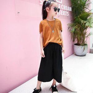 Girls Clothing Set Solid T Shirt + Pants 2PCS Girl Summer Clothes Set Teenage School Costume Child 6 8 10 12 14 Year