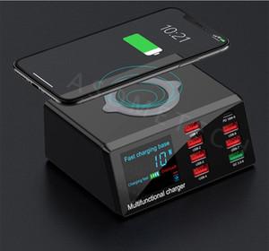 휴대 전화 태블릿 PC의 경우 빠른 충전기 역 PD 충전 100W 8 포트 USB 충전기 급속 충전 3.0 어댑터 HUB 무선 충전기