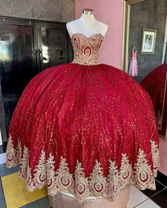 Red Sequined Ball Gown Quinceanera Dresses Beads Sweet 16 Dress Girls Pageant Gowns vestido de 15 anos años quinceañera
