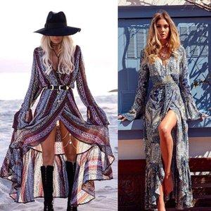 Hirigin Women Summer Boho Chiffon V Neck Party Evening Beach Dresses Long Maxi Dress