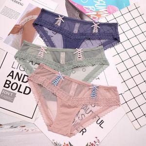 SP&CITY New Summer Transparent Net Sexy Panties Lace Cute Transparent Seamless Underwear Sex Lingerie Crotch Cotton Briefs Tanga