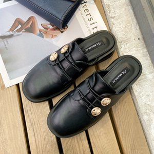 Shoes Woman 2020 Rivet Woman's Slippers Elastic band Platform Luxury Slides Med Cover Toe New Designer Rubber Rome Hoof Heels