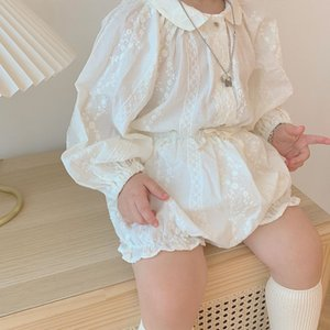 INS Baby Girls embroidered outfits toddler kids lapel long sleeve shirt+PP shorts 2pcs 2020 Fall new lady style baby cotton sets 3485