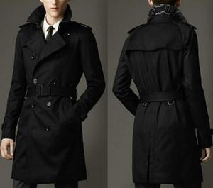 가을 더블 브레스트 긴 검은 트렌치 코트 남성 영국 스타일의 트렌치 코트 완두콩 코트 남성 싼 망 겨울 코트 벨트 fz6444을