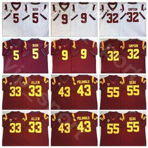 Kolej USC Trojans Futbol Jersey 32 OJ Simpson 5 Reggie Bush 43 Troy Polamalu 33 Marcus Allen 55 Junior Seau 9 JuJu Smith-Schuster