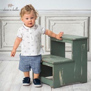 DB13136 Dave bella yaz erkek bebekleri moda baskı cepler giyim setleri çocuk yakışıklı kısa kollu setleri çocuk 2 adet ksfL # uyacak