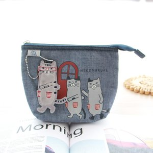 n7ohe Japanese magnet cat Storage Cosmetic cosmetic buckle fabric embroidery cat dinner makeup coin purse small bag storage bag shopping wal