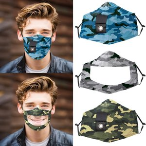 Camo Straw Masks Visible Lip Language Face Mask with Clear Window Anti Dust Deaf Mute Masks OOA8241