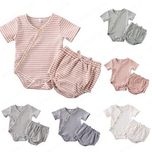 Kids Clothes Girls Article Pit Clothing Sets Baby Striped Cotton Rompers PP Pants Suits Solid Jumpsuit Outfits Shorts Briefs Bloomers